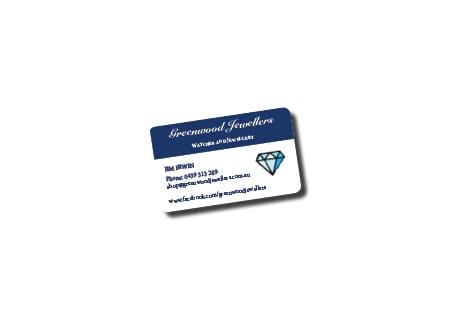 Greenwood Jewellers Calling Card Design - A Team Printing Perth digital print services printing services Perth printing Perth